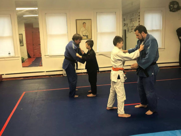 Costello family training judo together
