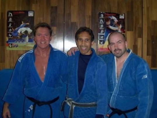 Sensei Kevin Costello with his mentor, Sensei Clyde Worthen, and Sensei Dave Swider